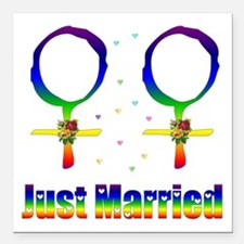 """Just Married Lesbians Square Car Magnet 3"""" x 3"""""""