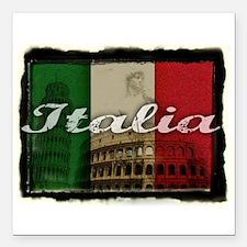 """2-Italia.png Square Car Magnet 3"""" x 3"""""""