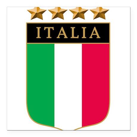 Italian 4 star FLAG(white).png Square Car Magnet 3