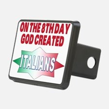 GOD CREATED ITALIANS(BLK).png Hitch Cover