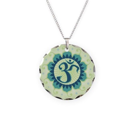 Lotus Aum Green Necklace Circle Charm
