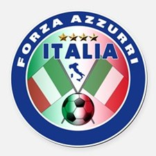 Forza azzurri(blk).png Round Car Magnet