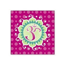 "Lotus Aum Fuschia Square Sticker 3"" x 3"""