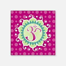 """Lotus Aum Fuschia Square Sticker 3"""" x 3"""""""