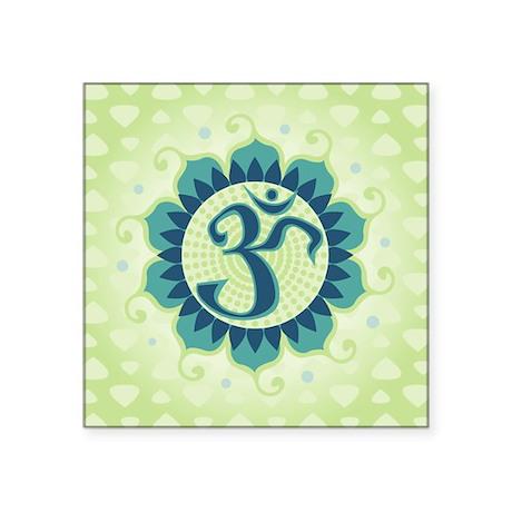 "Lotus Aum Green Square Sticker 3"" x 3"""