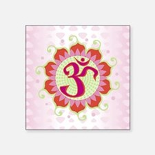 "Lotus Aum Pink Square Sticker 3"" x 3"""