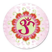 Lotus Aum Pink Round Car Magnet