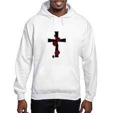 Red Flower Cross Hoodie Sweatshirt