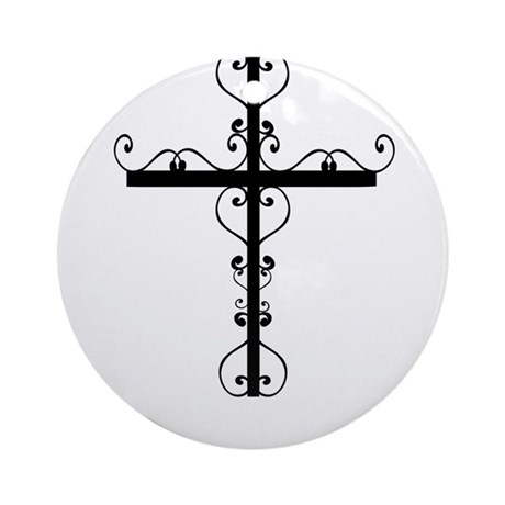 Black Swirl Cross Ornament (Round)