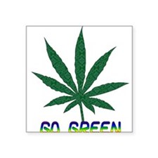 """go_green01.png Square Sticker 3"""" x 3"""""""