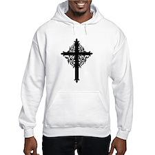 Swirly Black Cross Hoodie