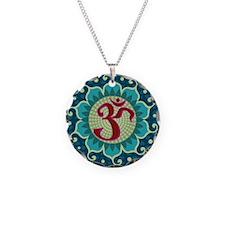 Lotus Aum Necklace Circle Charm