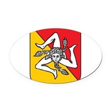 sicilian coat of arms.png Oval Car Magnet