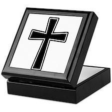 White Outline Black Cross Keepsake Box