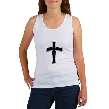 White Outline Black Cross Women's Tank Top
