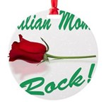 italian moms (white).png Round Ornament