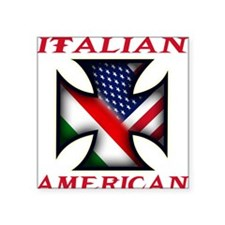 """Italian american(blk).png Square Sticker 3"""" x 3"""""""