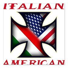 "Italian american(blk).png Square Car Magnet 3"" x 3"