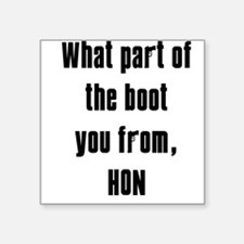 "WHITE Boot.png Square Sticker 3"" x 3"""
