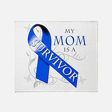 My Mom is a Survivor (blue) Throw Blanket