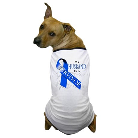 My Husband is a Survivor (blue) Dog T-Shirt
