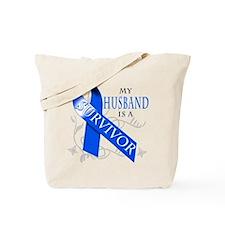 My Husband is a Survivor (blue) Tote Bag