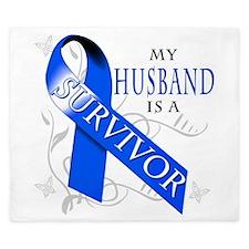 My Husband is a Survivor (blue) King Duvet