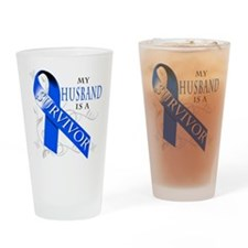 My Husband is a Survivor (blue) Drinking Glass