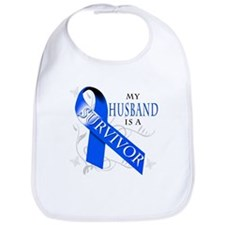 My Husband is a Survivor (blue) Bib