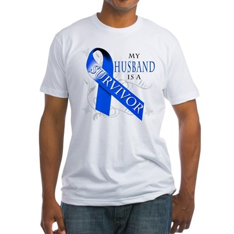 My Husband is a Survivor (blue) Fitted T-Shirt