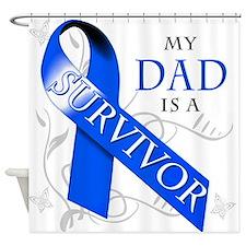 My Dad is a Survivor (blue) Shower Curtain