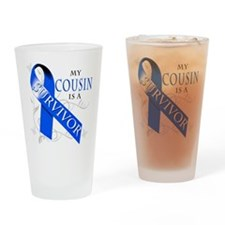 My Cousin is a Survivor (blue) Drinking Glass