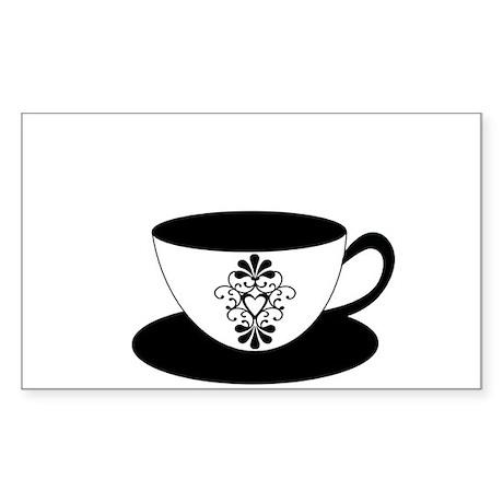Ornate Heat Tea Cup Sticker (Rectangle)