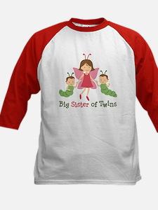 Big Sister of Twins - Butterfly Kids Baseball Jers