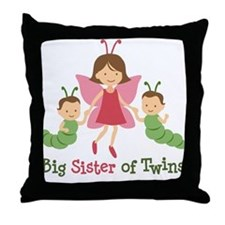 Big Sister of Twins - Butterfly Throw Pillow