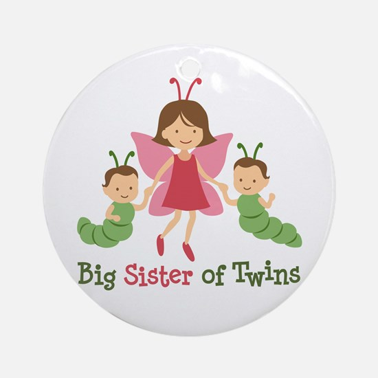 Big Sister of Twins - Butterfly Ornament (Round)