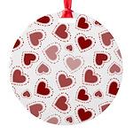 Fun Red Hearts Round Ornament