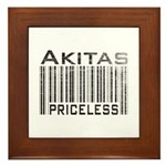 Akita Priceless Weathered Barcode Framed Tile