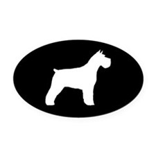 Schnauzer Silhouette Oval Car Magnet