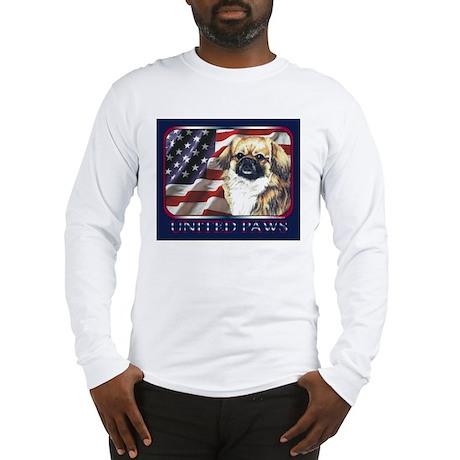 Tibetan Spaniel USA Flag Long Sleeve T-Shirt