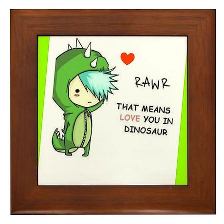 Rawr: Means 'I love you' in Dinosaur! Framed Tile