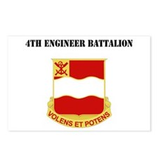 DUI - 4th Engineer Battalion with Text Postcards (