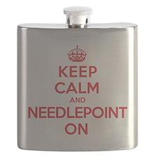 Keep Calm Needlepoint Flask