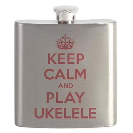 Keep Calm Play Ukelele Flask