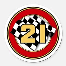 CAR 21 CHECKERED FLAG Round Car Magnet