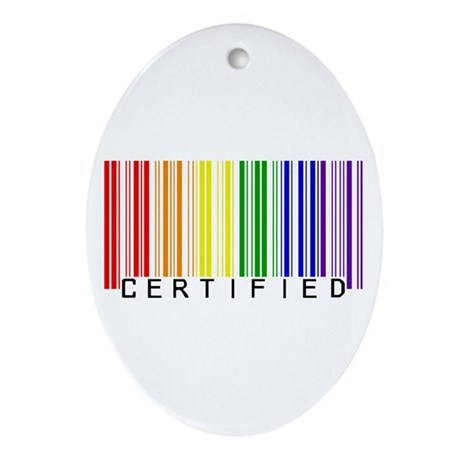 Certified Rainbow Bar Code Ornament (Oval)