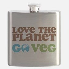 Love the Planet Go Veg.png Flask