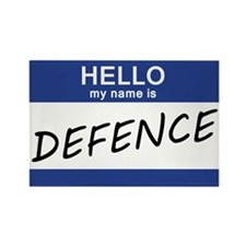Hello my name is Defence Rectangle Magnet