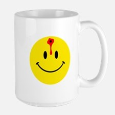 smiley face with bullet hole Large Mug