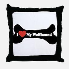 I Love My Wolfhound - Dog Bone Throw Pillow